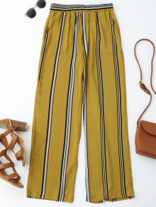 High Waisted Stripes Wide Leg Pants - Stripe S