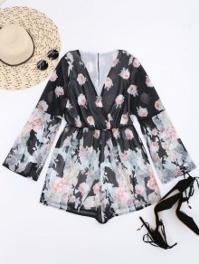 Long Sleeves Chiffon Floral Surplice Romper