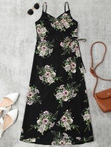 Floral Slip Wrap Midi Vestido