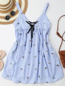 Embroidered Stripes Lace Up Casual Dress