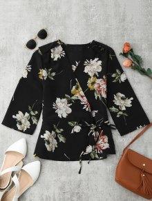 Floral Wrap Kimono Blouse - Floral