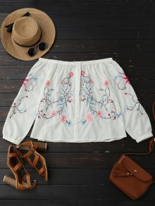 Button Up Embroidered Off Shoulder Blouse