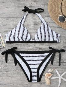 Conjunto De Bikini De Corte Alto Con Rayas Halter - Blanco Y Negro M