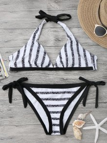 Halter Striped High Cut Bikini Set