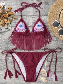 Ensemble De Bikini à Cordes Frangées Et à Fleurs Tranchées - Rouge L