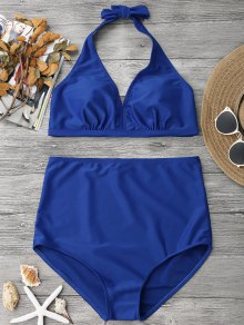 Halter Neck High Waisted Bathing Suit