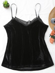 Cami Voile Panel Camiseta Sin Mangas De Terciopelo - Negro M