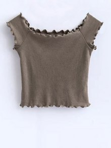 Off Shoulder Ruffles Crop Top - Khaki M