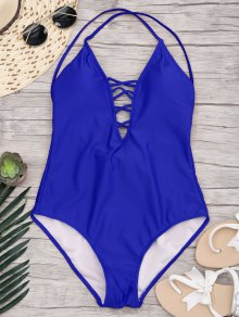 Slimming Lacing One Piece Swimsuit - Sapphire Blue M