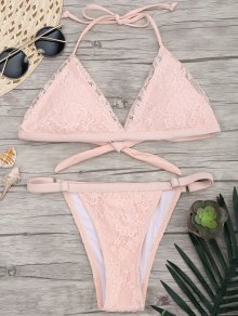 Lace Overlay V String Bikini Set