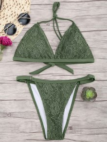 Lace Overlay V String Bikini Set