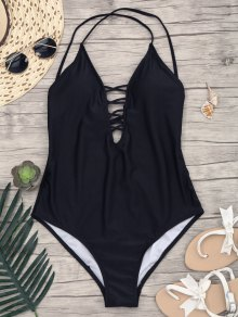 Slimming Lacing One Piece Swimsuit - Black Xl