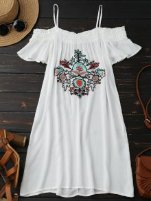 Floral Embroidered Cold Shoulder Mini Dress