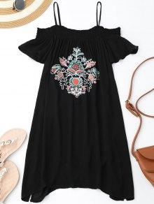 Floral Embroidered Cold Shoulder Mini Dress - Black M