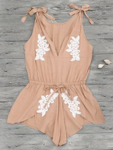 Floral Applique Drawstring Cover Up Romper - Apricot
