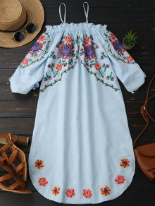 Embroidered Cold Shoulder Casual Dress