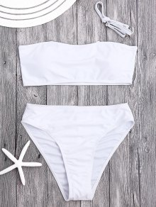 Padded High Cut Bandeau Bikini Set - White