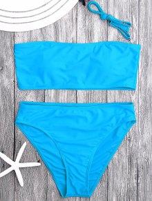 Padded High Cut Bandeau Bikini Set - Lake Blue