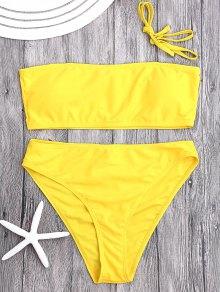 Padded High Cut Bandeau Bikini Set - Yellow