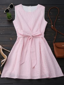 Sleeveless Striped Bowknot Dress - Pink And White M