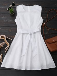 Vestido A Rayas Con Nudo De Lazo Sin Mangas - Blanco S