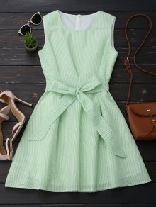 Sleeveless Striped Bowknot Dress