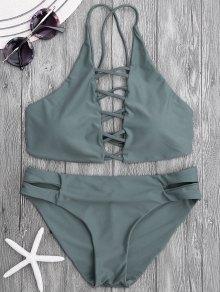 Tie Back Crisscross Strappy Bikini Set - Slategray L