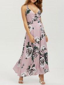 Vestido maxi floral de playa con tiras