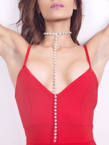 Rhinestoned Alloy Long Chain Necklace