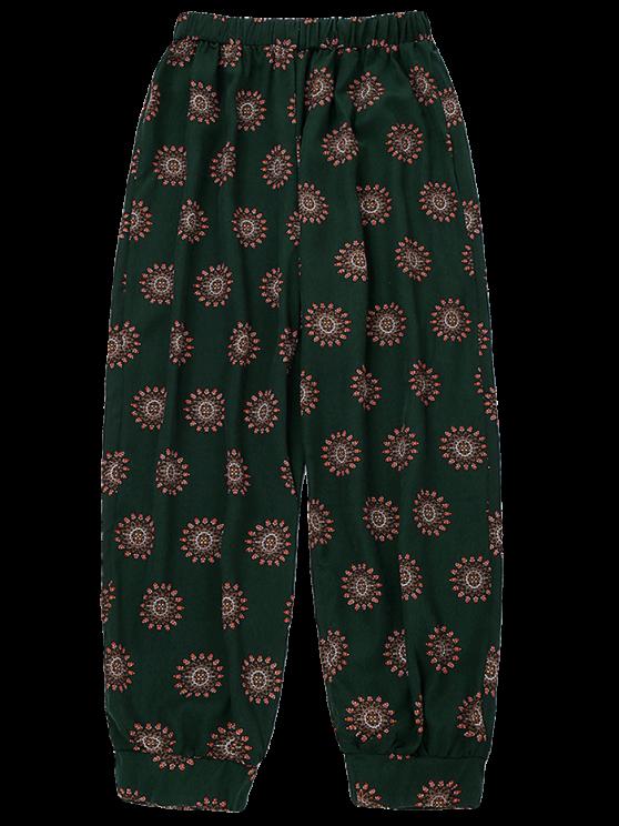 Print Harem Holiday Pants - BLACKISH GREEN ONE SIZE Mobile