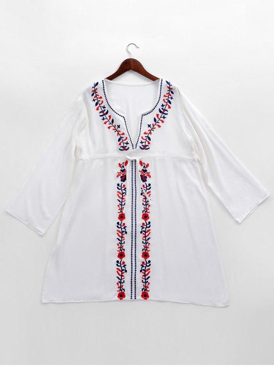 مطرزة طويلة الأكمام الشاطئ التستر اللباس - أبيض حجم واحد