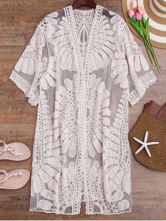 الكروشيه زهرة زهرة كيمونو لونغلين التستر - أبيض فاتح حجم واحد