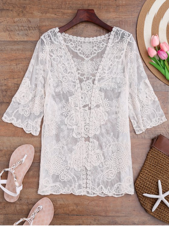 sale Sheer Crochet Flower Kimono Cover Up - OFF-WHITE ONE SIZE