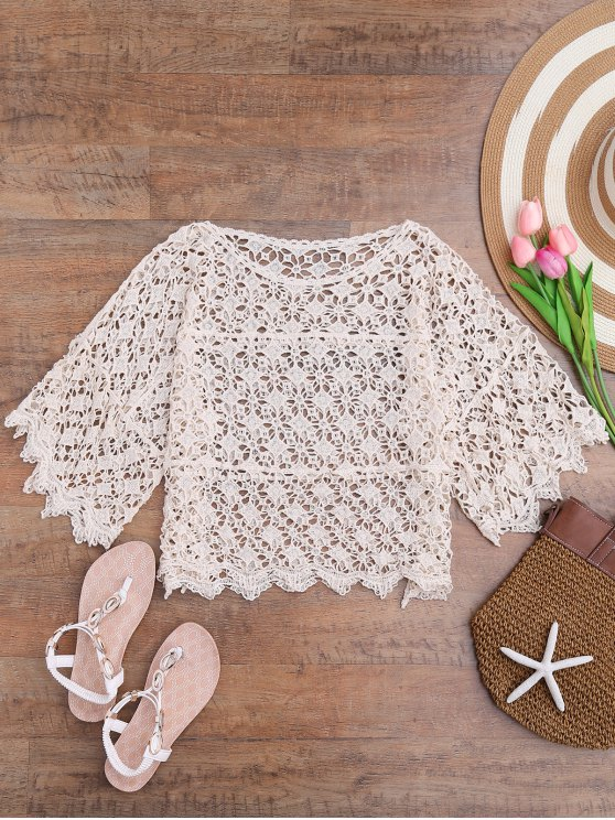 buy Bohemian Crochet Laser Cut Out Cover Up - OFF-WHITE ONE SIZE