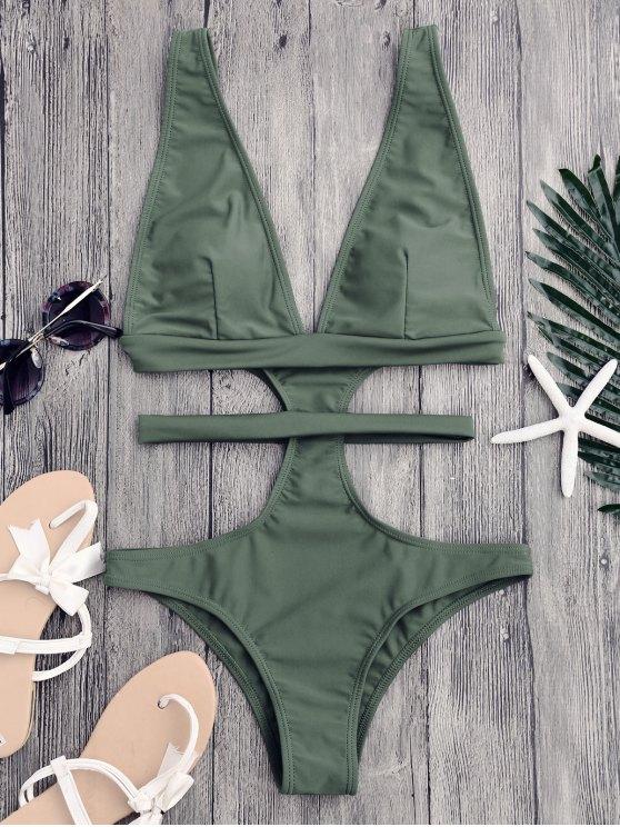 chic Cut Out Plunging Neck Bandage Swimwear - SAGE GREEN M