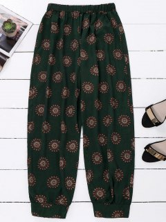 Print Harem Holiday Pants - Blackish Green