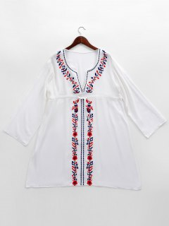 Embroidered Beach Cover Up Smock Dress - White