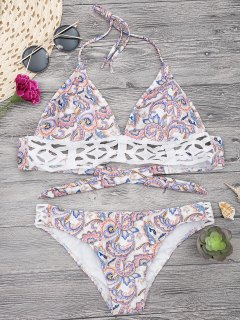 Floral Print Midi Bikini Top And Bottoms - White M