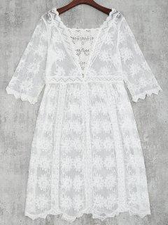 Cache Maillot Robe De Plage Croché En Dentelle - Blanc