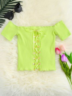 Lace Up Off The Shoulder Cropped Top - Yellow Green