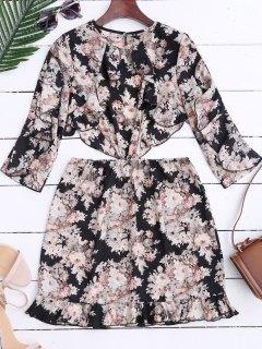 Ruffles Floral High Cut Mini Dress - Floral S