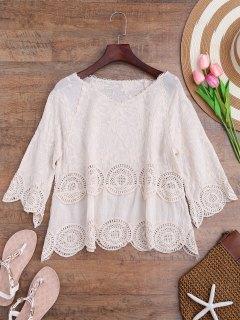 Cache Maillots Floral Brodé Panneau En Crochet - Blanc Cassé