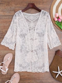 Cache Maillot Kimono Floral Transparent En Crochet - Blanc Cassé