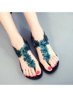 Flowers Flat Heel Elastic Band Sandals - Blackish Green 39