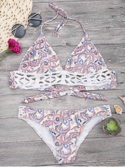 sale Floral Print Midi Bikini Top and Bottoms - WHITE M Mobile
