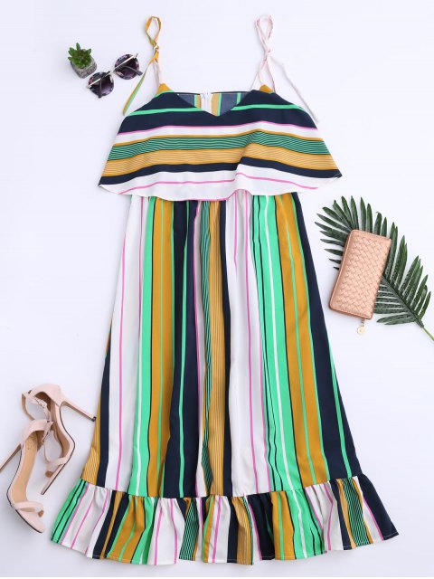 women's Slip Stripes Ruffles Casual Dress - STRIPE S Mobile