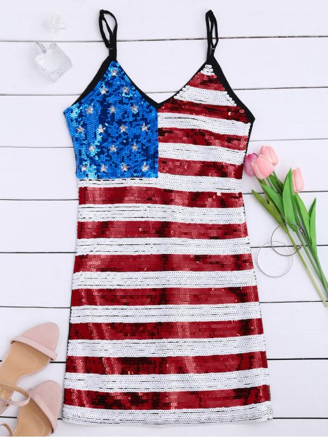 womens American Flag Sequins Club Patriotic Dress - BLACK ONE SIZE Mobile