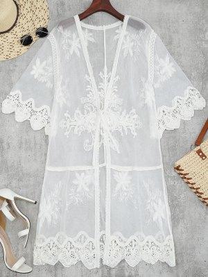 Sheer Tulle Beach Kimono Cover Up