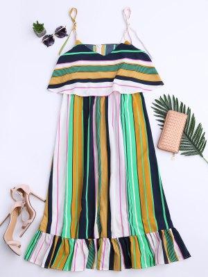 Slip Stripes Ruffles Casual Dress - Stripe