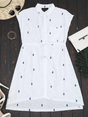 Belted Pineapple Embroidered Shirt Dress - White